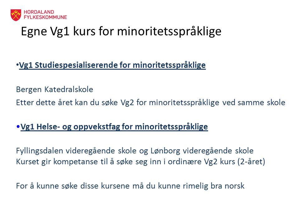 Egne Vg1 kurs for minoritetsspråklige Vg1 Studiespesialiserende for minoritetsspråklige Bergen Katedralskole Etter dette året kan du søke Vg2 for mino