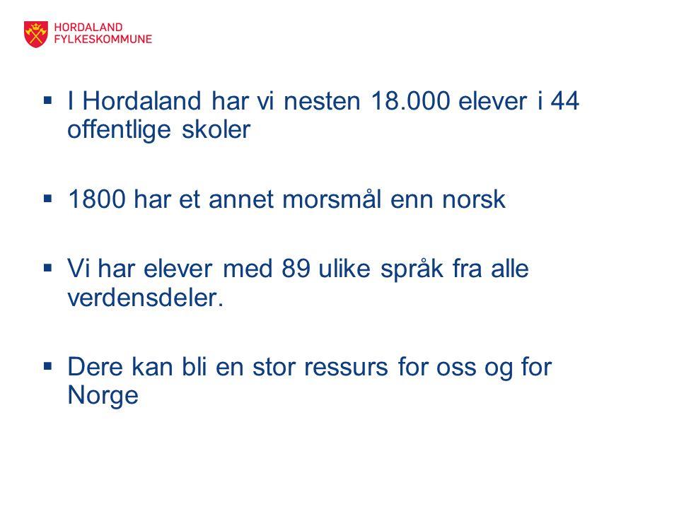  I Hordaland har vi nesten 18.000 elever i 44 offentlige skoler  1800 har et annet morsmål enn norsk  Vi har elever med 89 ulike språk fra alle verdensdeler.