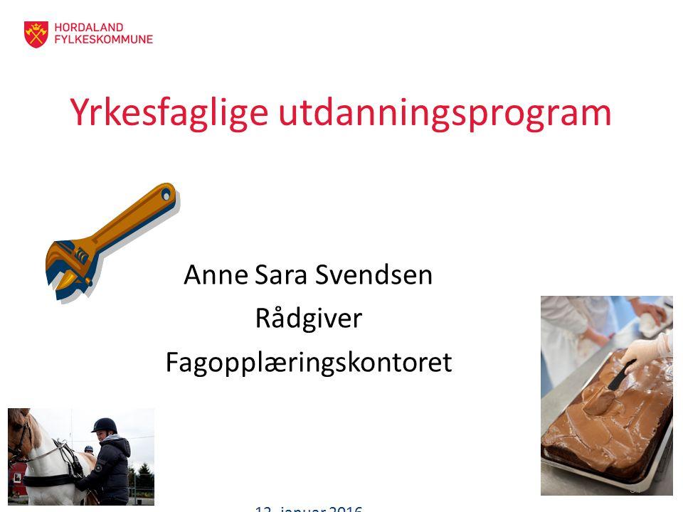 Yrkesfaglige utdanningsprogram Anne Sara Svendsen Rådgiver Fagopplæringskontoret 12. januar 2016 31
