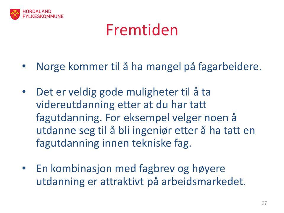 Fremtiden Norge kommer til å ha mangel på fagarbeidere. Det er veldig gode muligheter til å ta videreutdanning etter at du har tatt fagutdanning. For