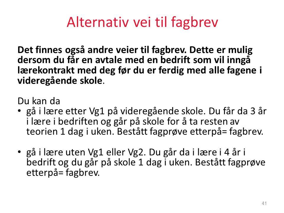 Alternativ vei til fagbrev Det finnes også andre veier til fagbrev.