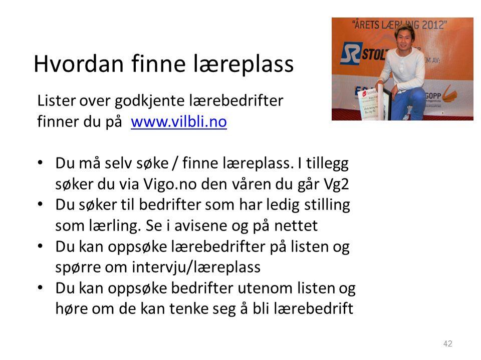 Hvordan finne læreplass Lister over godkjente lærebedrifter finner du på www.vilbli.nowww.vilbli.no Du må selv søke / finne læreplass.