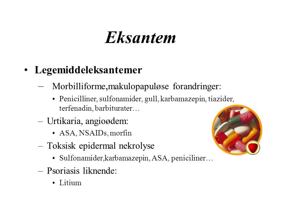 Eksantem Legemiddeleksantemer – Morbilliforme, makulopapuløse forandringer: Penicilliner, sulfonamider, gull, karbamazepin, tiazider, terfenadin, barbiturater… –Urtikaria, angioødem: ASA, NSAIDs, morfin –Toksisk epidermal nekrolyse Sulfonamider,karbamazepin, ASA, peniciliner… –Psoriasis liknende: Litium