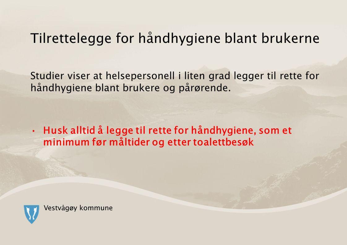 Tilrettelegge for håndhygiene blant brukerne Studier viser at helsepersonell i liten grad legger til rette for håndhygiene blant brukere og pårørende.
