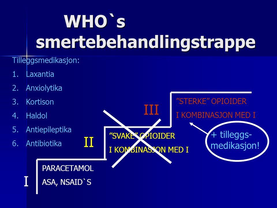 WHO`s smertebehandlingstrappe PARACETAMOL ASA, NSAID`S SVAKE OPIOIDER I KOMBINASJON MED I STERKE OPIOIDER I KOMBINASJON MED I I II III + tilleggs- medikasjon.