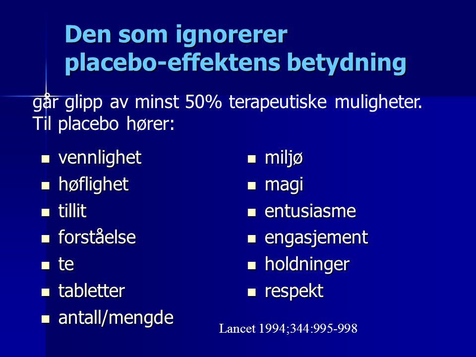 Den som ignorerer placebo-effektens betydning vennlighet vennlighet høflighet høflighet tillit tillit forståelse forståelse te te tabletter tabletter antall/mengde antall/mengde miljø miljø magi magi entusiasme entusiasme engasjement engasjement holdninger holdninger respekt respekt Lancet 1994;344:995-998 går glipp av minst 50% terapeutiske muligheter.