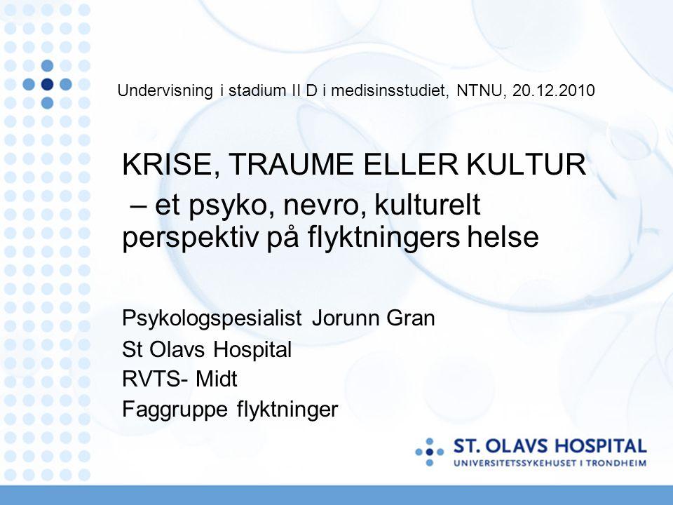 Primære intervensjoner: Sikkerhet og egenomsorg Symptomstabilisering Ego styrking Psykoedukasjon om traumer og dissosiering Relasjonsspørsmål