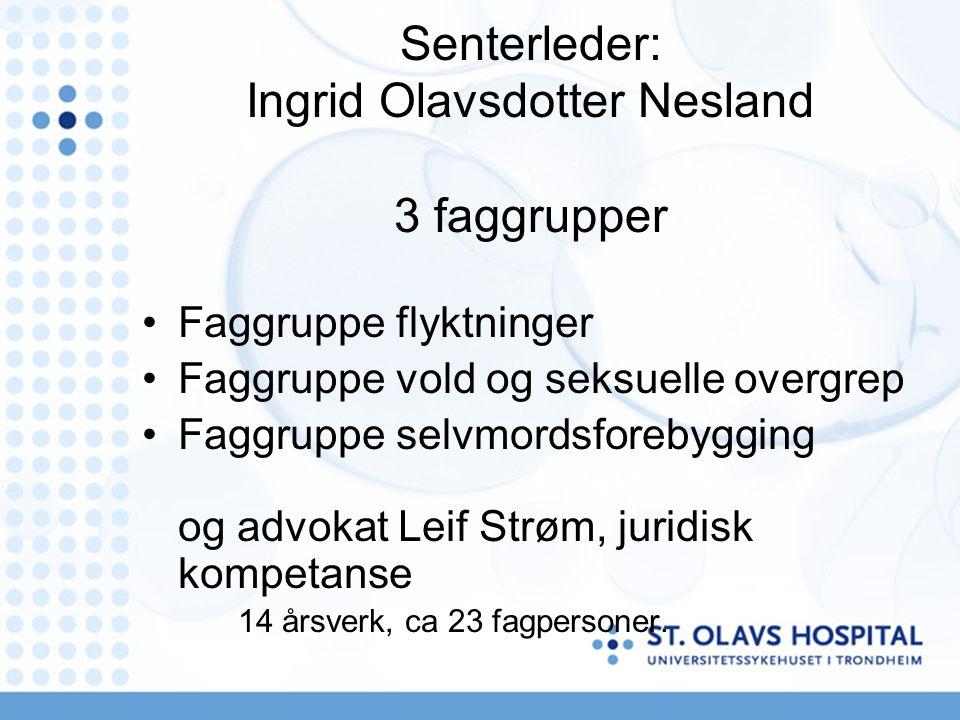 Senterleder: Ingrid Olavsdotter Nesland 3 faggrupper Faggruppe flyktninger Faggruppe vold og seksuelle overgrep Faggruppe selvmordsforebygging og advokat Leif Strøm, juridisk kompetanse 14 årsverk, ca 23 fagpersoner.