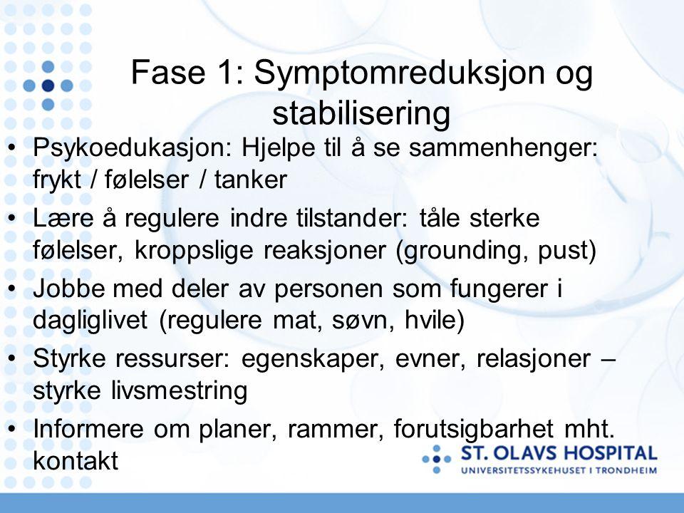 Fase 1: Symptomreduksjon og stabilisering Psykoedukasjon: Hjelpe til å se sammenhenger: frykt / følelser / tanker Lære å regulere indre tilstander: tåle sterke følelser, kroppslige reaksjoner (grounding, pust) Jobbe med deler av personen som fungerer i dagliglivet (regulere mat, søvn, hvile) Styrke ressurser: egenskaper, evner, relasjoner – styrke livsmestring Informere om planer, rammer, forutsigbarhet mht.