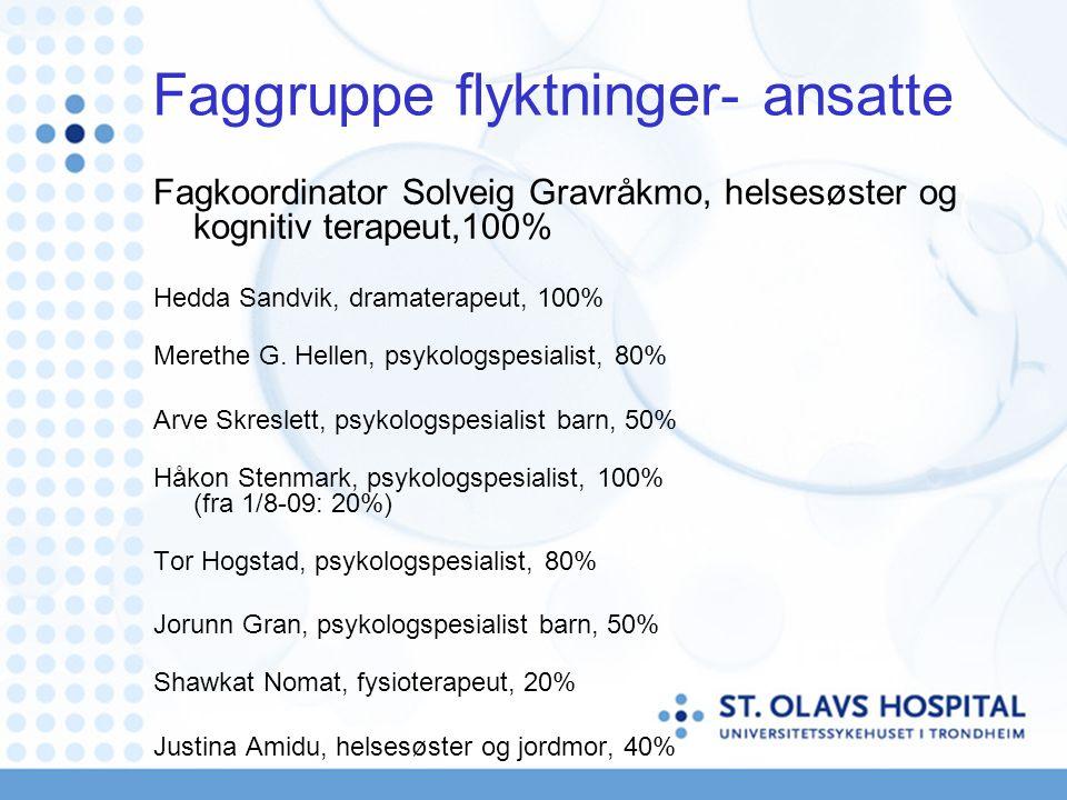 Faggruppe flyktninger- ansatte Fagkoordinator Solveig Gravråkmo, helsesøster og kognitiv terapeut,100% Hedda Sandvik, dramaterapeut, 100% Merethe G.