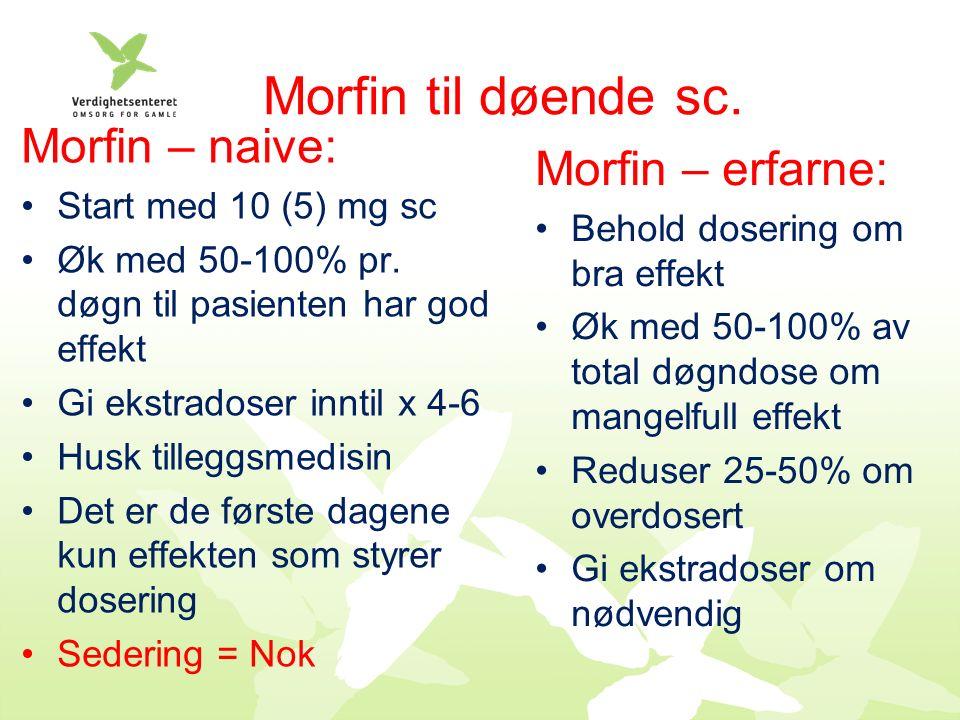 Morfin til døende sc. Morfin – naive: Start med 10 (5) mg sc Øk med 50-100% pr.