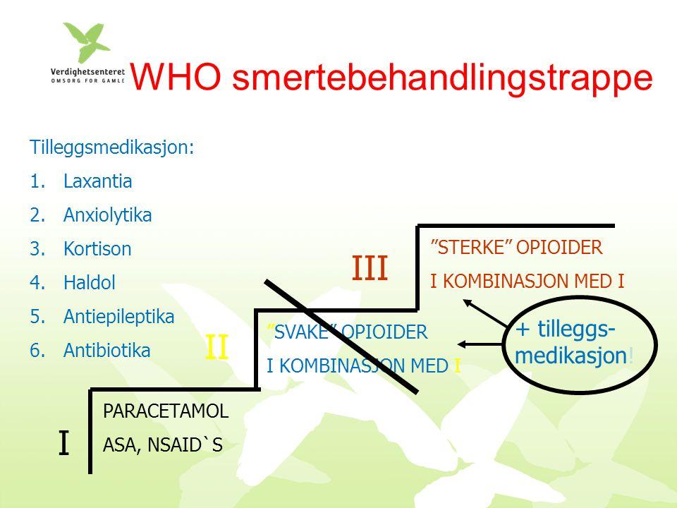 WHO smertebehandlingstrappe PARACETAMOL ASA, NSAID`S SVAKE OPIOIDER I KOMBINASJON MED I STERKE OPIOIDER I KOMBINASJON MED I I II III + tilleggs- medikasjon.