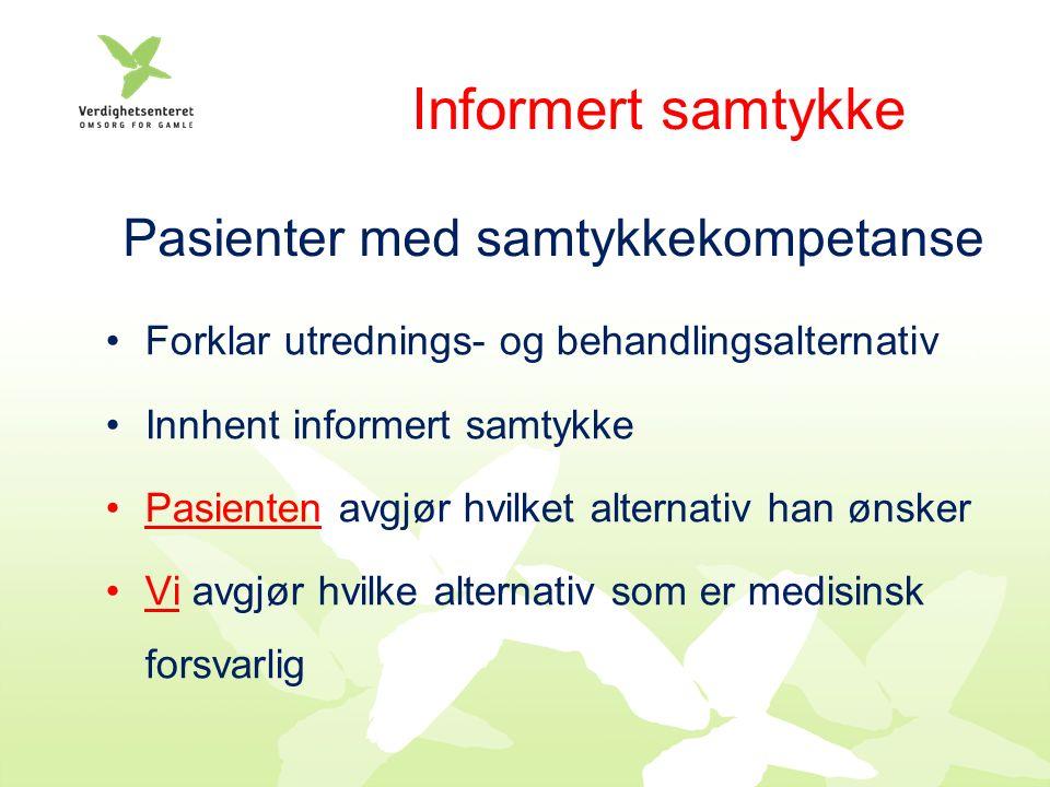 Plan for Palliativ Care Kartlegging av nettverk Iverksettelse av informasjon Etikk Konkret planlegging av symptomlindring: Eksisterende symptomer Sannsynlige symptomer Nødsituasjoner (lungeødem)