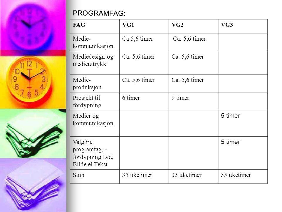 FAGVG1VG2VG3 Medie- kommunikasjon Ca 5,6 timer Ca.
