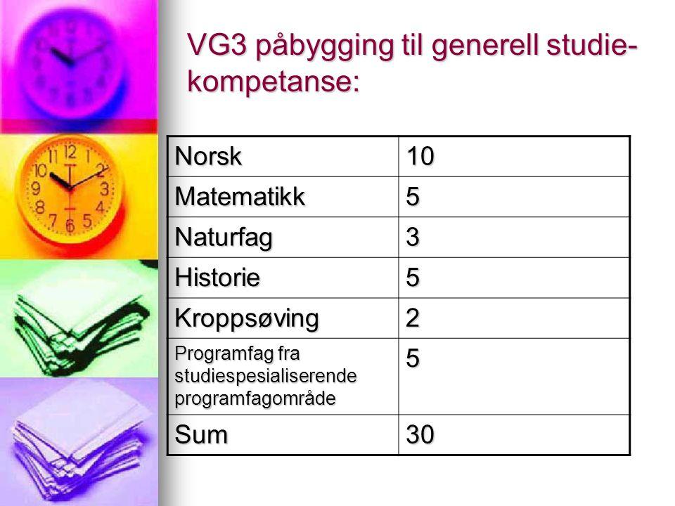 VG3 påbygging til generell studie- kompetanse: Norsk10 Matematikk5 Naturfag3 Historie5 Kroppsøving2 Programfag fra studiespesialiserende programfagområde 5 Sum30