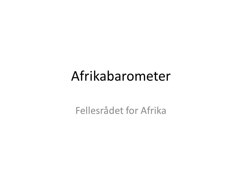 Afrikabarometer Fellesrådet for Afrika
