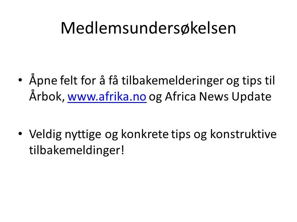 Medlemsundersøkelsen Åpne felt for å få tilbakemelderinger og tips til Årbok, www.afrika.no og Africa News Updatewww.afrika.no Veldig nyttige og konkr