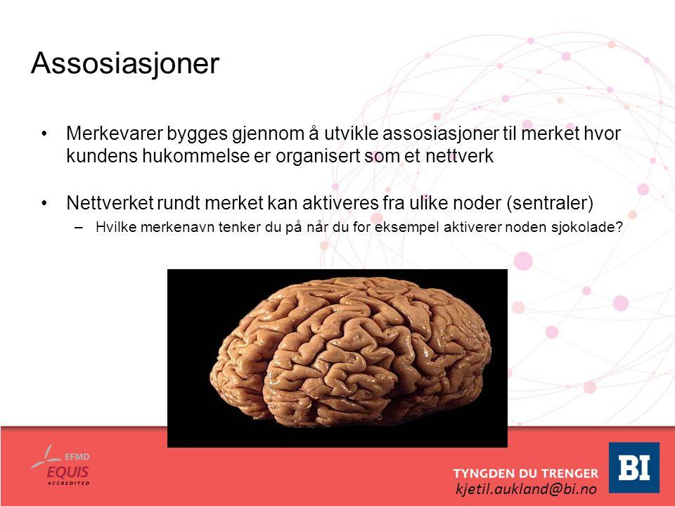 kjetil.aukland@bi.no Assosiasjoner Merkevarer bygges gjennom å utvikle assosiasjoner til merket hvor kundens hukommelse er organisert som et nettverk