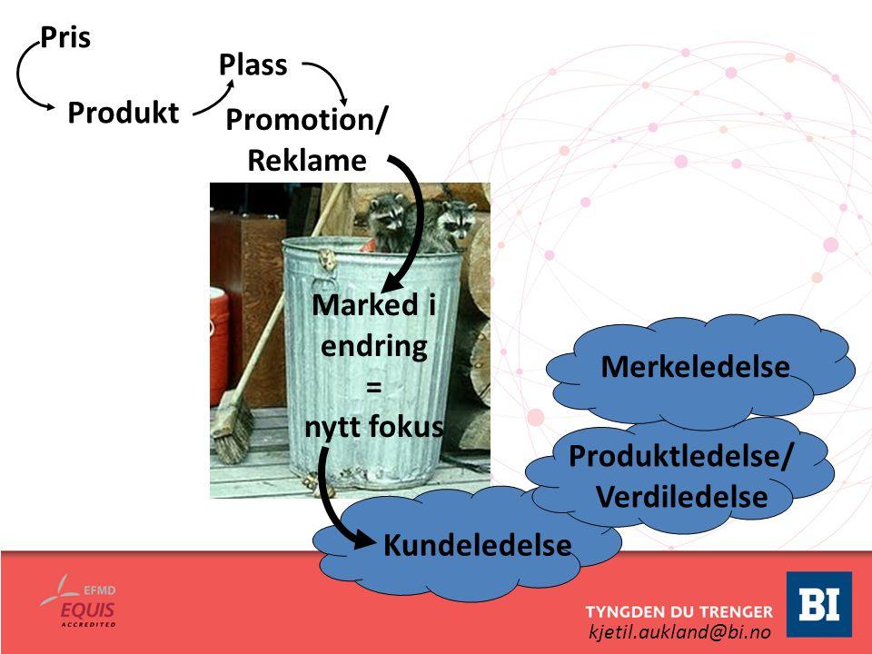 kjetil.aukland@bi.no Pris Produkt Plass Promotion/ Reklame Kundeledelse Produktledelse/ Verdiledelse Merkeledelse Marked i endring = nytt fokus
