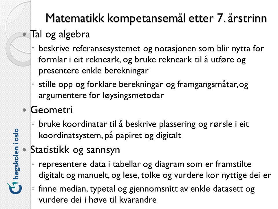 Matematikk kompetansemål etter 7.