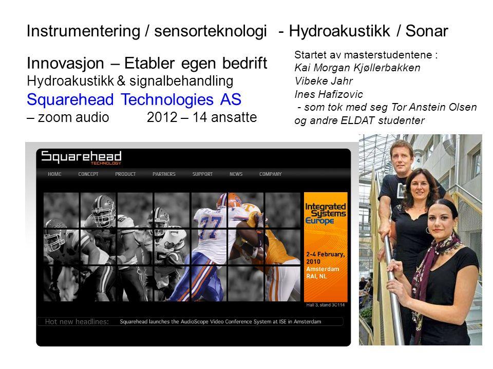 Innovasjon – Etabler egen bedrift Hydroakustikk & signalbehandling Squarehead Technologies AS – zoom audio 2012 – 14 ansatte Startet av masterstudente