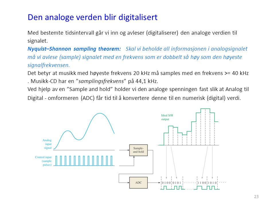 23 Med bestemte tidsintervall går vi inn og avleser (digitaliserer) den analoge verdien til signalet. Nyquist–Shannon sampling theorem: Skal vi behold