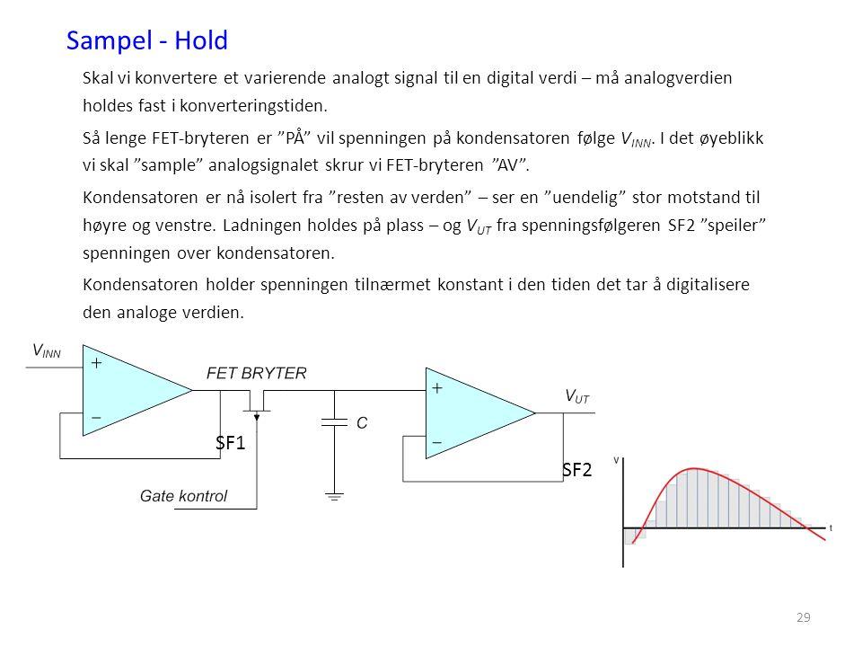 29 Sampel - Hold Skal vi konvertere et varierende analogt signal til en digital verdi – må analogverdien holdes fast i konverteringstiden. Så lenge FE