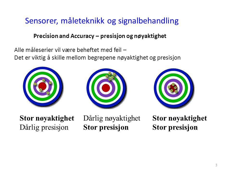 3 Sensorer, måleteknikk og signalbehandling Precision and Accuracy – presisjon og nøyaktighet Alle måleserier vil være beheftet med feil – Det er viktig å skille mellom begrepene nøyaktighet og presisjon Stor nøyaktighet Dårlig presisjon Dårlig nøyaktighet Stor presisjon Stor nøyaktighet Stor presisjon