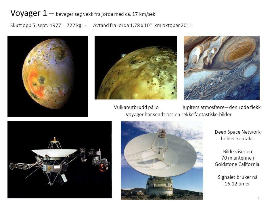 7 Vulkanutbrudd på IoJupiters atmosfære – den røde flekk Voyager 1 – beveger seg vekk fra jorda med ca. 17 km/sek Skutt opp 5. sept. 1977 722 kg - Avt