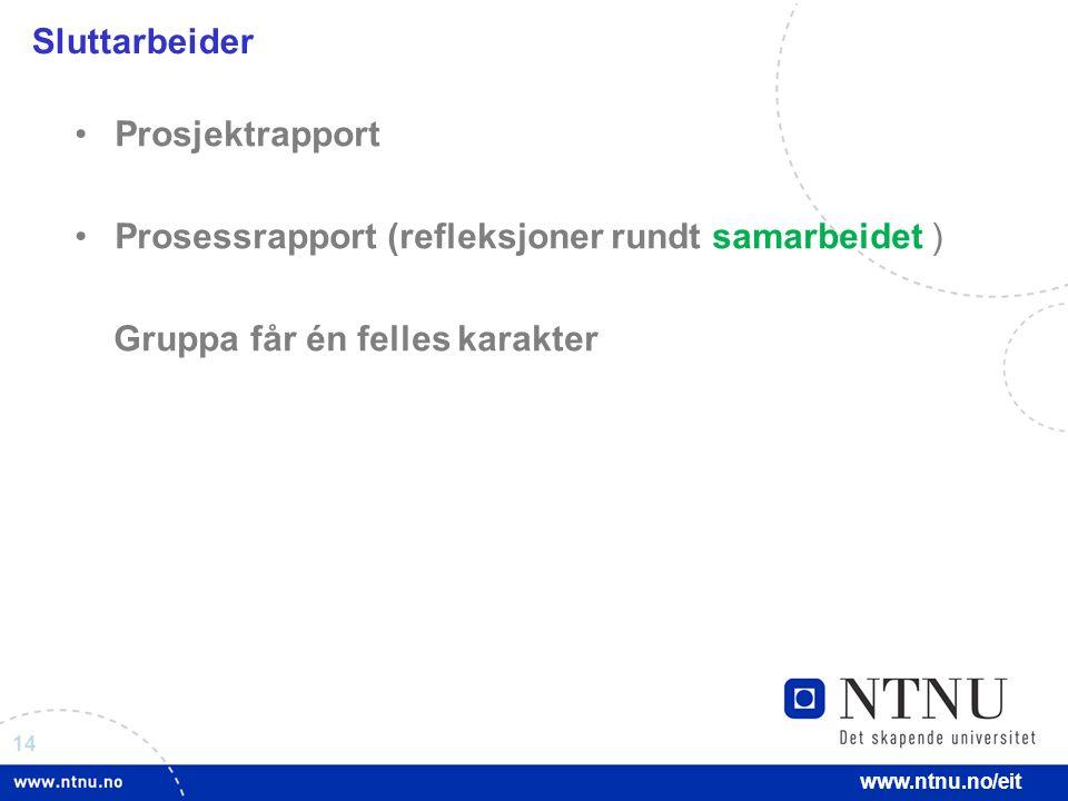 14 www.ntnu.no/eit Prosjektrapport Prosessrapport (refleksjoner rundt samarbeidet ) Gruppa får én felles karakter Sluttarbeider
