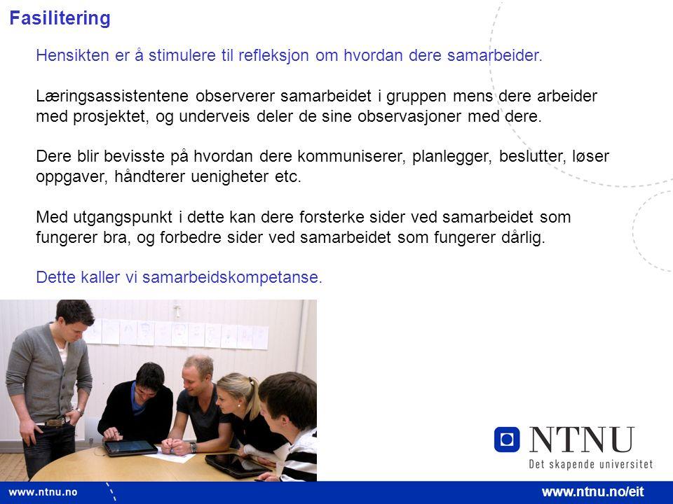 9 www.ntnu.no/eit Fasilitering Hensikten er å stimulere til refleksjon om hvordan dere samarbeider.
