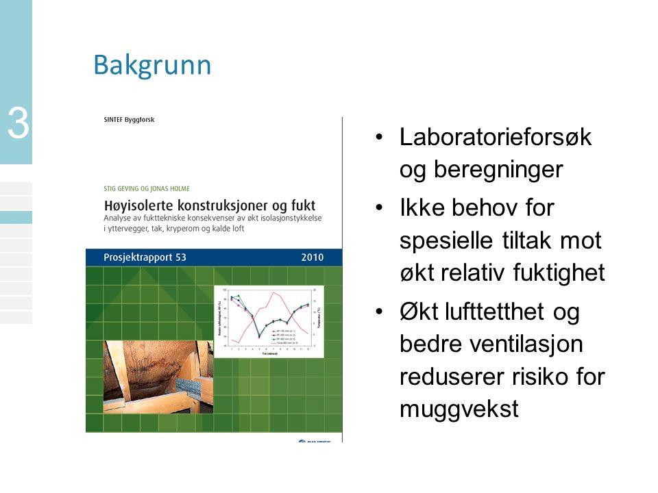 3 Bakgrunn Laboratorieforsøk og beregninger Ikke behov for spesielle tiltak mot økt relativ fuktighet Økt lufttetthet og bedre ventilasjon reduserer risiko for muggvekst