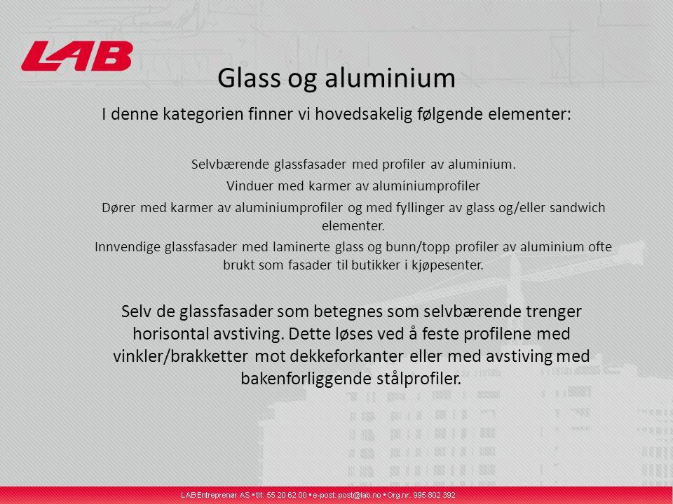 Glass og aluminium I denne kategorien finner vi hovedsakelig følgende elementer: Selvbærende glassfasader med profiler av aluminium.