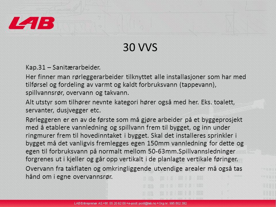 30 VVS Kap.31 – Sanitærarbeider.