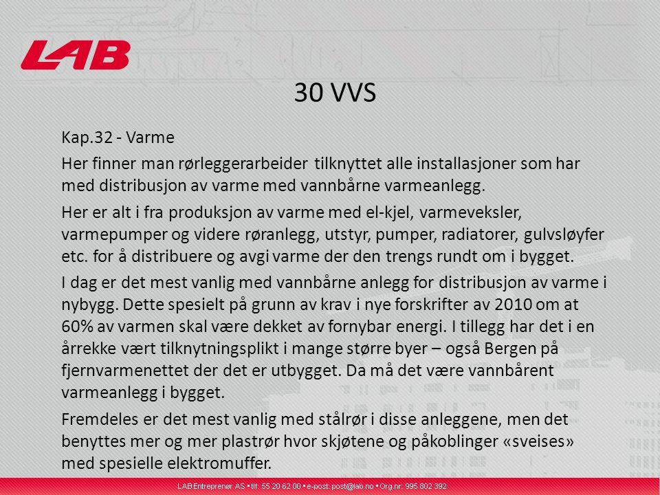 30 VVS Kap.32 - Varme Her finner man rørleggerarbeider tilknyttet alle installasjoner som har med distribusjon av varme med vannbårne varmeanlegg.