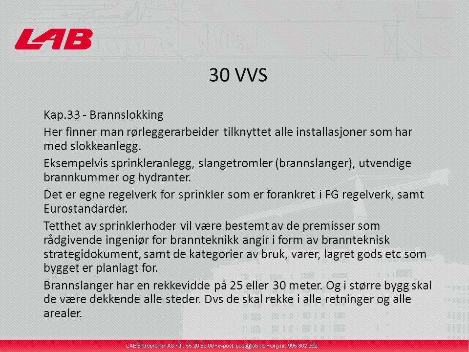 30 VVS Kap.33 - Brannslokking Her finner man rørleggerarbeider tilknyttet alle installasjoner som har med slokkeanlegg.