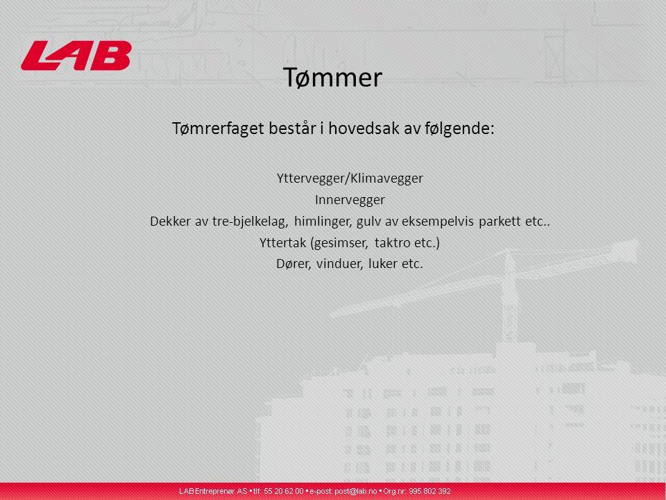Tømmer Tømrerfaget består i hovedsak av følgende: Yttervegger/Klimavegger Innervegger Dekker av tre-bjelkelag, himlinger, gulv av eksempelvis parkett etc..
