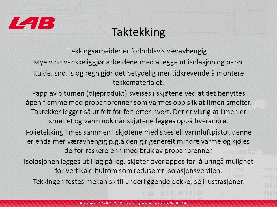 Taktekking Tekkingsarbeider er forholdsvis væravhengig.