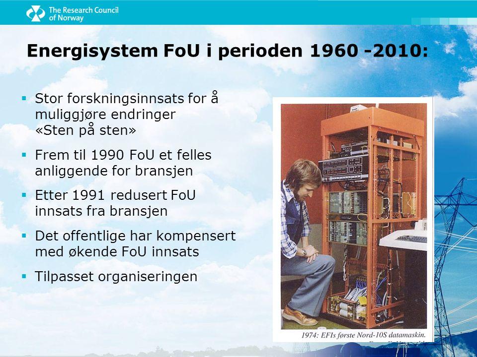 Energisystem FoU i perioden 1960 -2010:  Stor forskningsinnsats for å muliggjøre endringer «Sten på sten»  Frem til 1990 FoU et felles anliggende fo