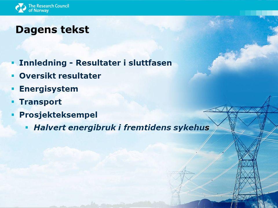 Dagens tekst  Innledning - Resultater i sluttfasen  Kompetansebygging  Energisystem  Transport  Prosjekteksempel  Halvert energibruk i fremtidens sykehus
