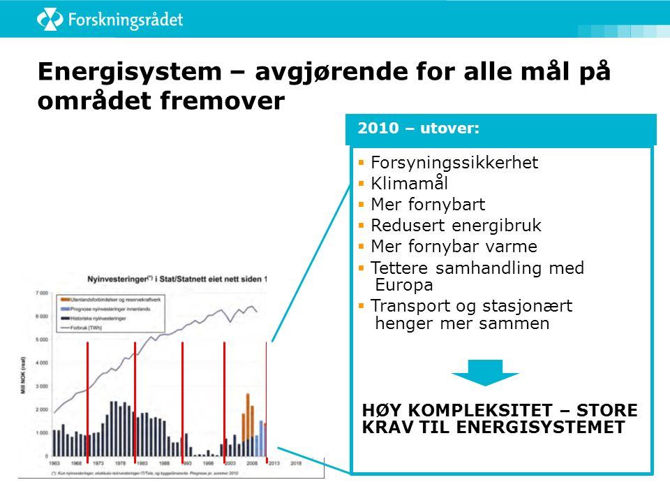 Energisystem – avgjørende for alle mål på området fremover 2010 – utover:  Forsyningssikkerhet  Klimamål  Mer fornybart  Redusert energibruk  Mer