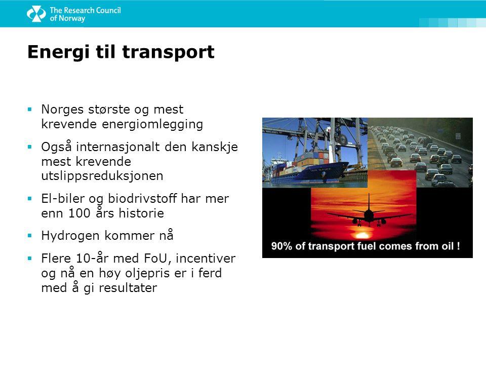 Energi til transport  Norges største og mest krevende energiomlegging  Også internasjonalt den kanskje mest krevende utslippsreduksjonen  El-biler