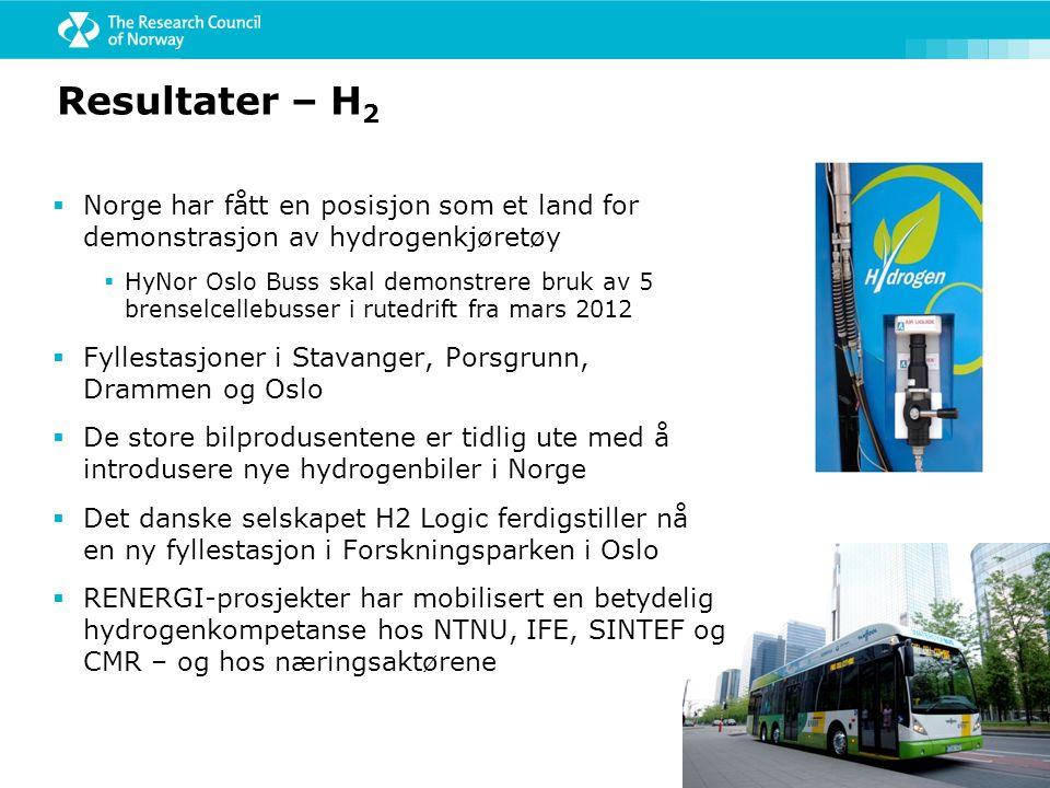 Resultater – H 2  Norge har fått en posisjon som et land for demonstrasjon av hydrogenkjøretøy  HyNor Oslo Buss skal demonstrere bruk av 5 brenselce