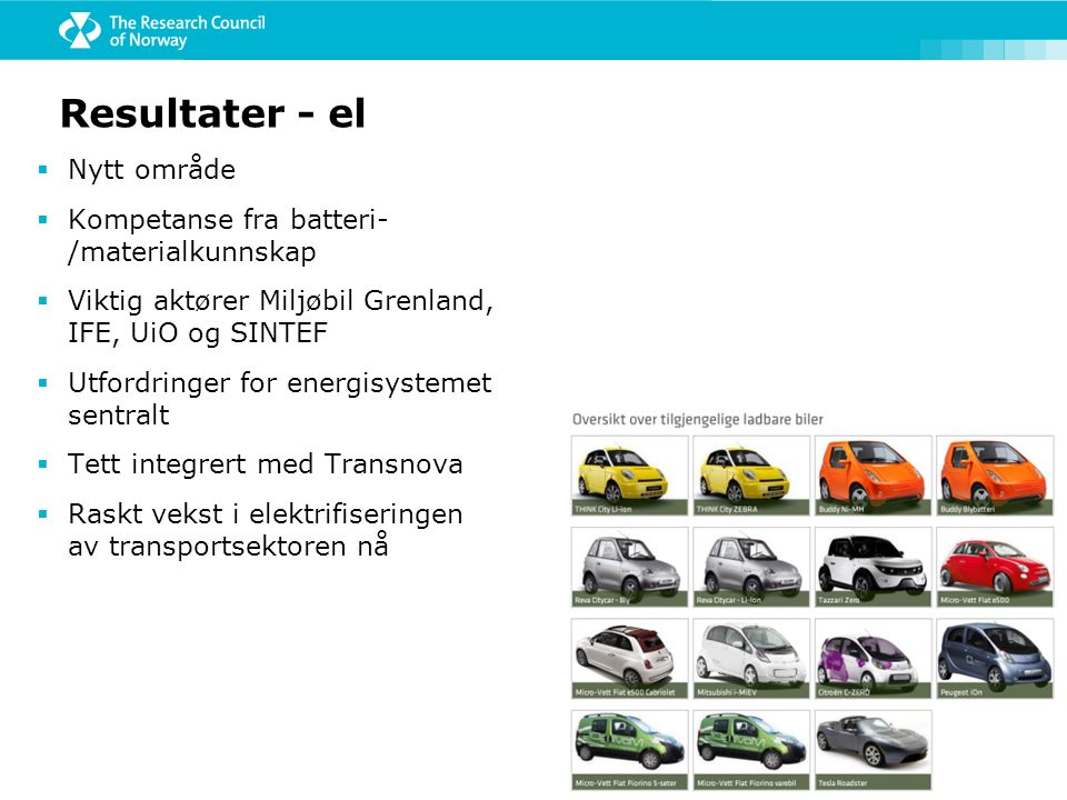 Resultater - el  Nytt område  Kompetanse fra batteri- /materialkunnskap  Viktig aktører Miljøbil Grenland, IFE, UiO og SINTEF  Utfordringer for en