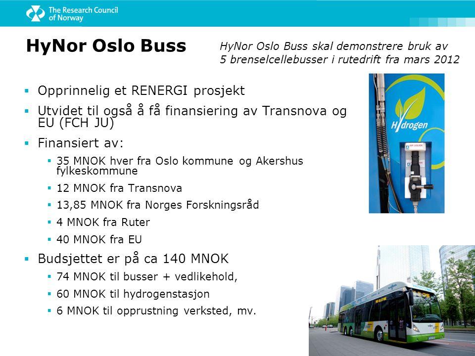 HyNor Oslo Buss  Opprinnelig et RENERGI prosjekt  Utvidet til også å få finansiering av Transnova og EU (FCH JU)  Finansiert av:  35 MNOK hver fra