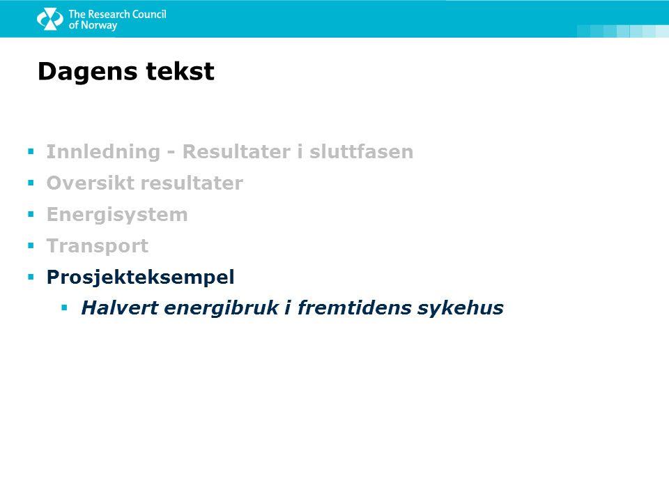 Dagens tekst  Innledning - Resultater i sluttfasen  Oversikt resultater  Energisystem  Transport  Prosjekteksempel  Halvert energibruk i fremtid