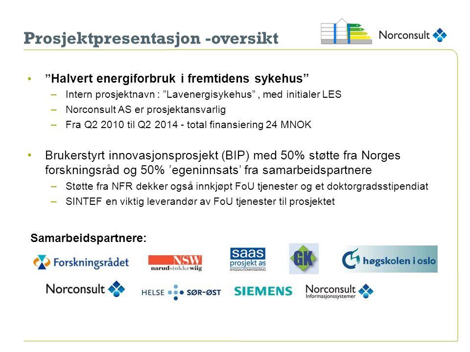 """Prosjektpresentasjon -oversikt """" Halvert energiforbruk i fremtidens sykehus"""" –Intern prosjektnavn : """"Lavenergisykehus"""", med initialer LES –Norconsult"""