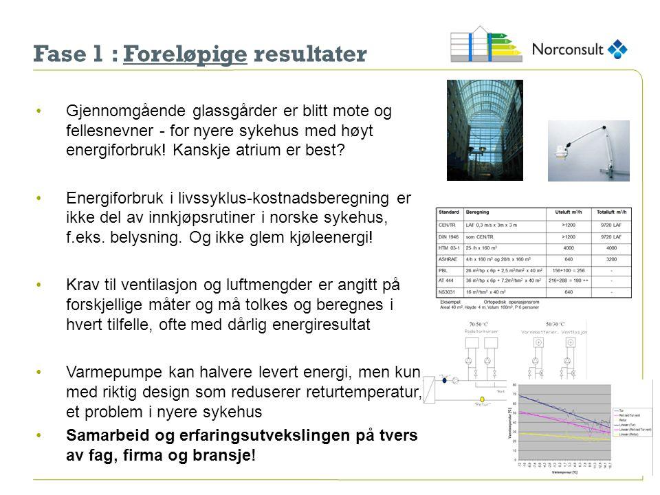 Fase 1 : Foreløpige resultater Gjennomgående glassgårder er blitt mote og fellesnevner - for nyere sykehus med høyt energiforbruk! Kanskje atrium er b