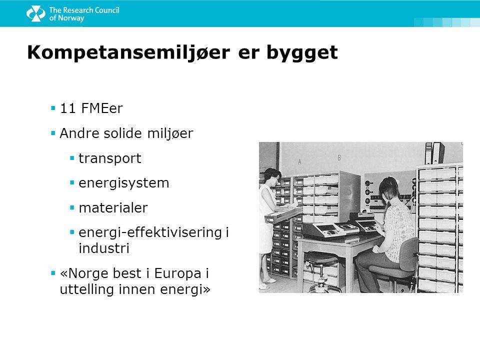 Kompetansemiljøer er bygget  11 FMEer  Andre solide miljøer  transport  energisystem  materialer  energi-effektivisering i industri  «Norge bes