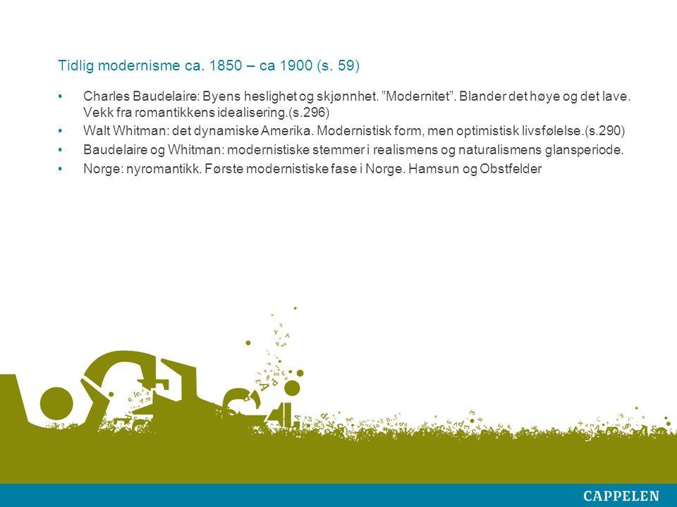 Tidlig modernisme ca. 1850 – ca 1900 (s. 59) Charles Baudelaire: Byens heslighet og skjønnhet.